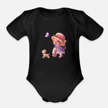 Dog-walking Walking with dog - Organic Short-Sleeved Baby Bodysuit