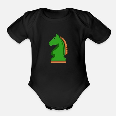Medieval Chess Knight Horse Green Chess Player Gift Idea - Organic Short-Sleeved Baby Bodysuit