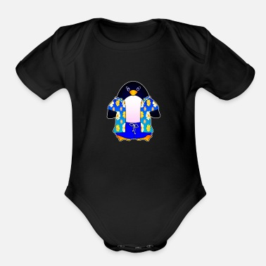 Guinness Hang Pen(guin)! - Organic Short-Sleeved Baby Bodysuit