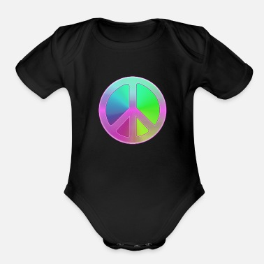 Peace Peace Sign - Organic Short-Sleeved Baby Bodysuit