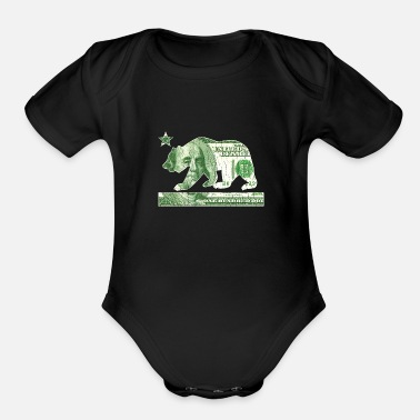 California Flag Money Bear (vintage distressed) - Organic Short-Sleeved Baby Bodysuit