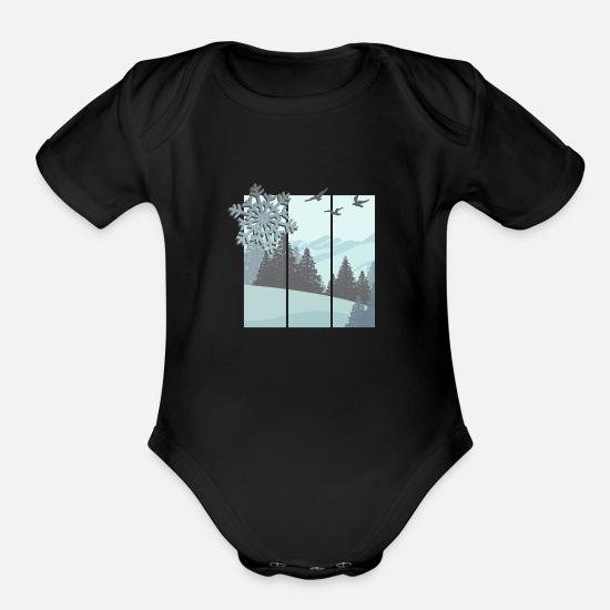 Winter Baby Clothing - winter - Organic Short-Sleeved Baby Bodysuit black