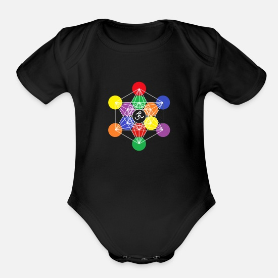 Love Baby Clothing - Metatron's Cube color 7 - Organic Short-Sleeved Baby Bodysuit black
