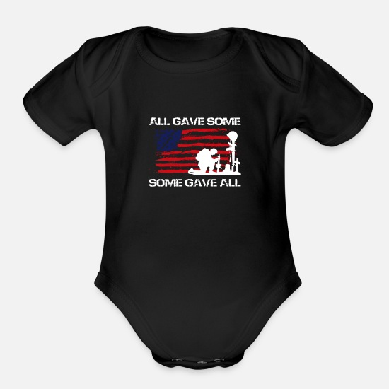 You Baby Clothing - All Gave Some Some Gave All - Organic Short-Sleeved Baby Bodysuit black