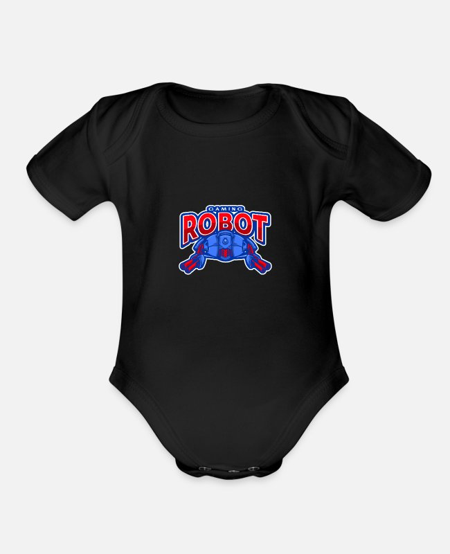 Endless Baby One Pieces - eSport Gaming Team Robot - Organic Short-Sleeved Baby Bodysuit black