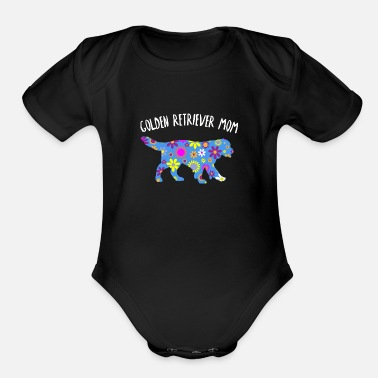Golden Retriever Mom Cute Floral Dog Lover Gifts - Organic Short-Sleeved Baby Bodysuit