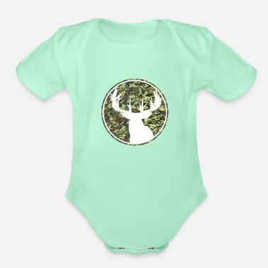 Reindeer Deer Hunting Camouflage Patch 2 - Organic Short-Sleeved Baby Bodysuit