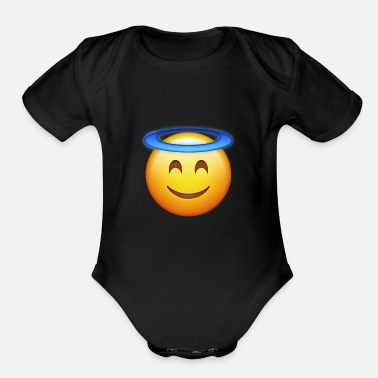 Halo Smiling Face With Halo E-moji shirt - E-moji gifts - Organic Short Sleeve Baby Bodysuit