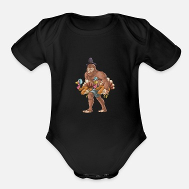Bigfoot Thanksgiving Thanksgiving Bigfoot Turkey - Organic Short-Sleeved Baby Bodysuit