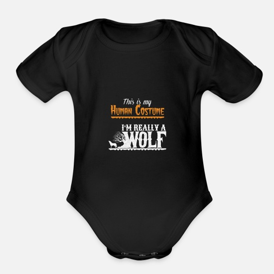 Gift Idea Baby Clothing - Wolf Halloween Costume - Organic Short-Sleeved Baby Bodysuit black