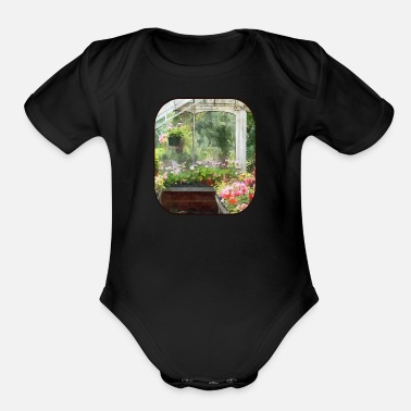 Greenhouse Geraniums in Greenhouse - Organic Short-Sleeved Baby Bodysuit