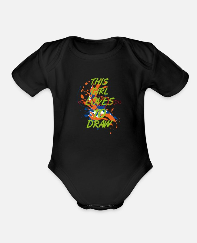 Artist Baby One Pieces - Draw Painting Doddle Artist Women Gift - Organic Short-Sleeved Baby Bodysuit black