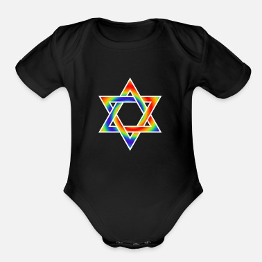 Jewish RAINBOW STAR OF DAVID JEWISH  SYMBOL - Organic Short Sleeve Baby Bodysuit
