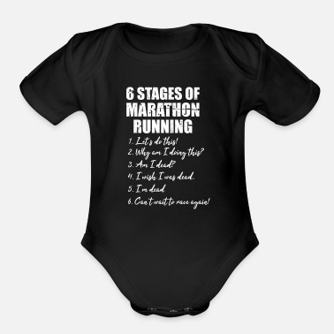 Miles 6 Stages of Marathon - Premium Design - Organic Short Sleeve Baby Bodysuit
