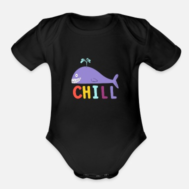 Neck Chill Whale - Organic Short-Sleeved Baby Bodysuit