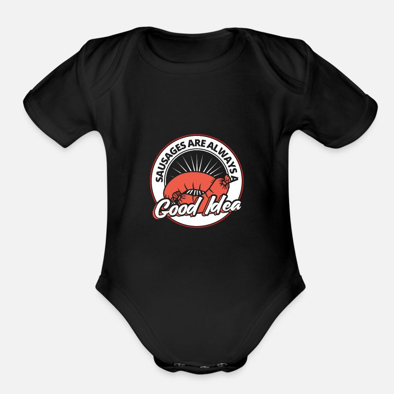 Sausage Baby Clothing - Sausage - Organic Short-Sleeved Baby Bodysuit black