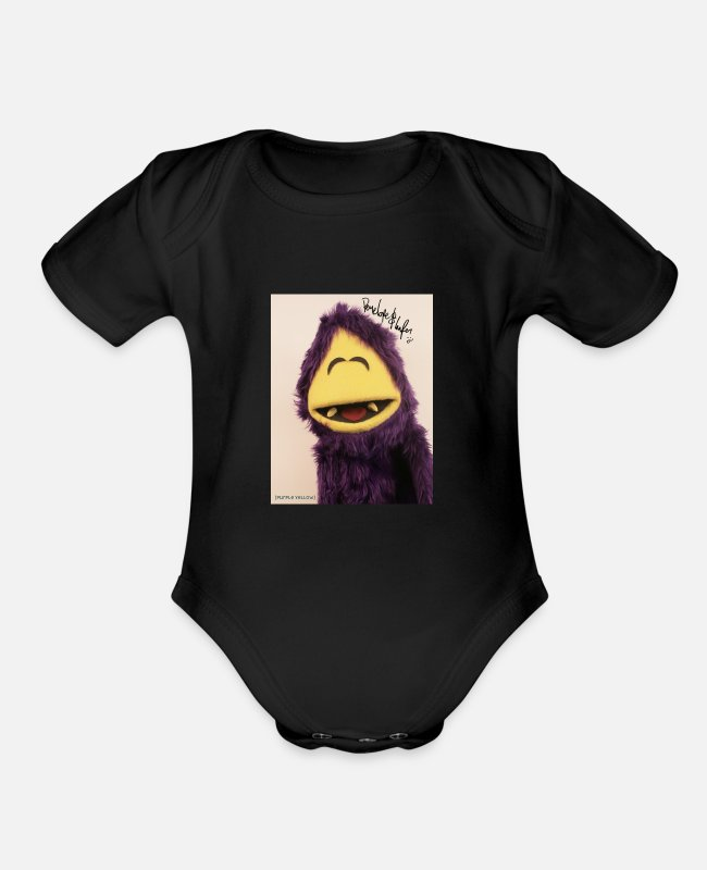 Puppets Baby One Pieces - purple yellow - Organic Short-Sleeved Baby Bodysuit black