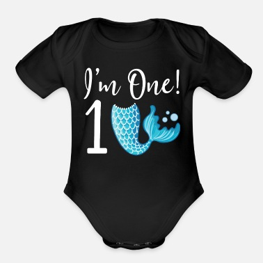 Girl 1st Birthday Girls Mermaid - Organic Short Sleeve Baby Bodysuit