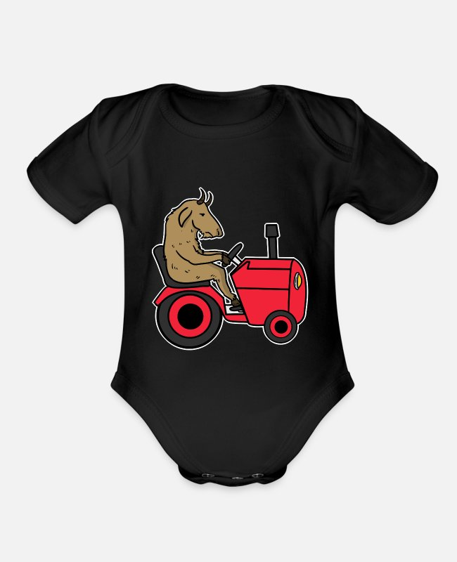 Trekker Baby One Pieces - Tractor Cool Trecker Farmer Shirt Gift Farmer - Organic Short-Sleeved Baby Bodysuit black