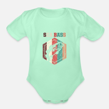 Bass Vintage Style Sea Bass Fishing Fisher - Organic Short-Sleeved Baby Bodysuit