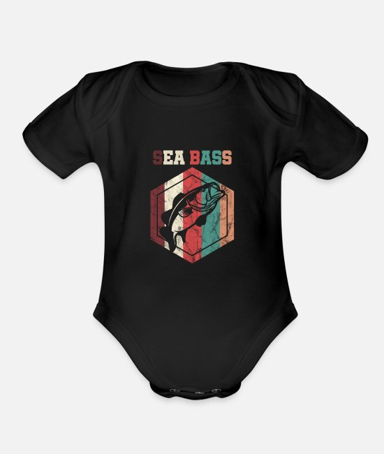 Bass Baby One Pieces - Vintage Style Sea Bass Fishing Fisher - Organic Short-Sleeved Baby Bodysuit black