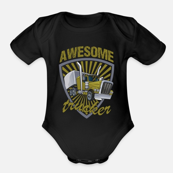 Truck Baby Clothing - trucker long-distance gift truck truck lorry truck - Organic Short-Sleeved Baby Bodysuit black