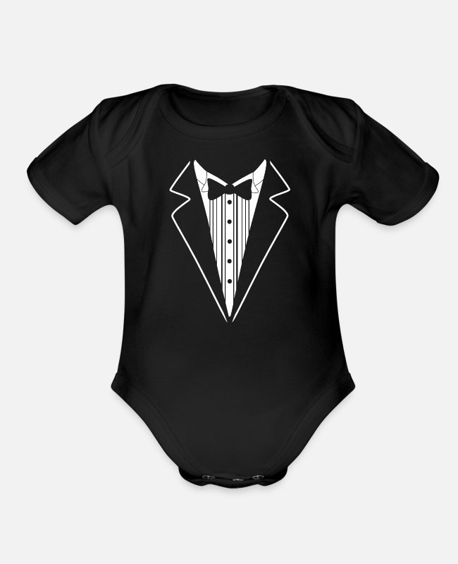 Tie Baby One Pieces - Tuxedo Tie Neck Business Formal Official Suit Tux - Organic Short-Sleeved Baby Bodysuit black