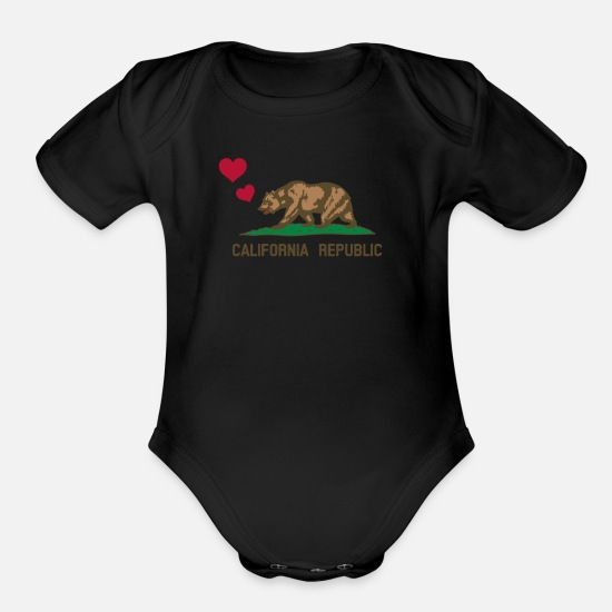 Aesthetic Baby Clothing - California Republic Bear with Hearts - Organic Short-Sleeved Baby Bodysuit black