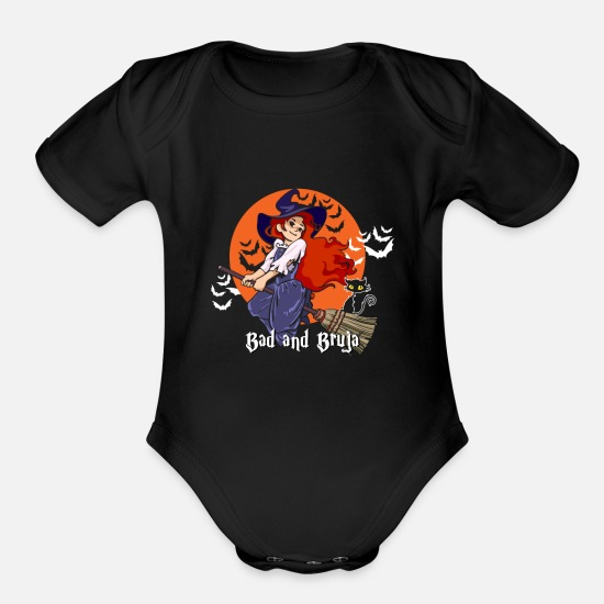 Halloween Baby Clothing - Bad and Bruja Magic Halloween Witchcraft Shirt - Organic Short-Sleeved Baby Bodysuit black