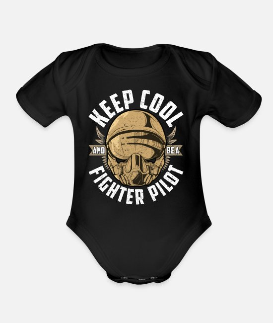 Pilot Baby One Pieces - Keep Cool And Be A Fighter Pilot - Organic Short-Sleeved Baby Bodysuit black