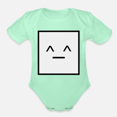 Square Square, it is a Square- Geometric Square happy - Organic Short-Sleeved Baby Bodysuit