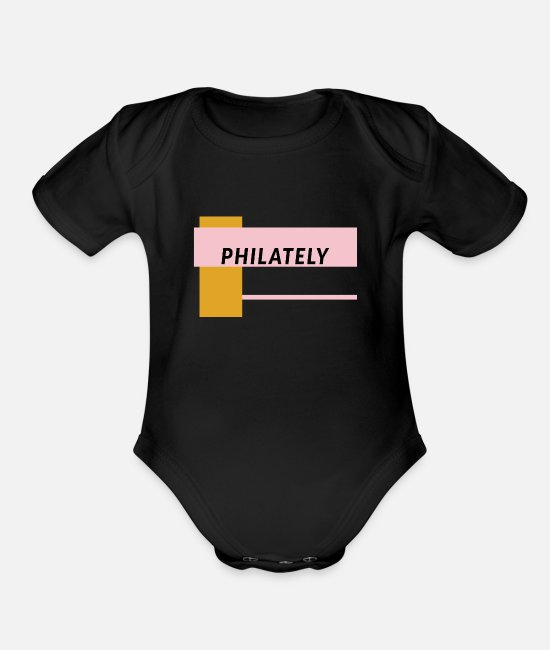 Mail Baby One Pieces - Stamp Collecting Collector Philatelist - Organic Short-Sleeved Baby Bodysuit black