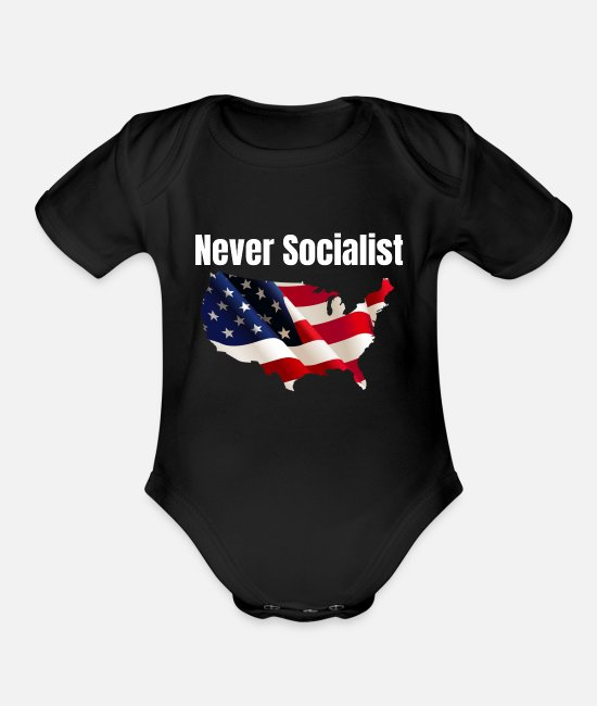 Social Baby One Pieces - Never Socialist Republican No Socialism The Donald - Organic Short-Sleeved Baby Bodysuit black