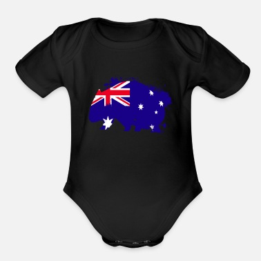 Flags Wombat Australia flag wild animal marsupial zoo - Organic Short-Sleeved Baby Bodysuit