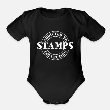 Stamp Addicted Stamps Collecting - Organic Short-Sleeved Baby Bodysuit