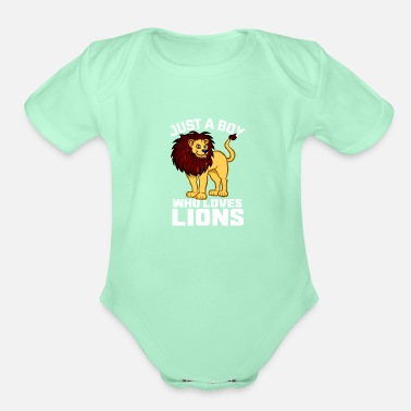 Safari Just a boy who loves lions for boys and men - Organic Short-Sleeved Baby Bodysuit
