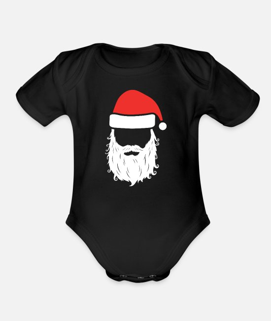 Christmas Baby One Pieces - Gangster Santa Claus - Organic Short-Sleeved Baby Bodysuit black