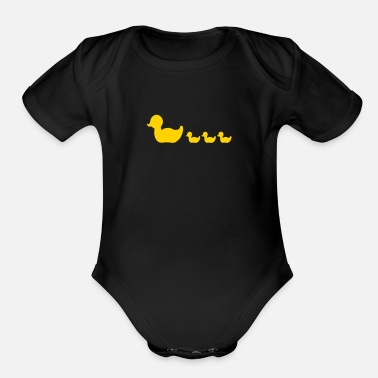 Duck rubber duck family (1c) - Organic Short Sleeve Baby Bodysuit