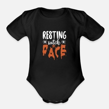 November Resting Witch Face Halloween - Organic Short-Sleeved Baby Bodysuit