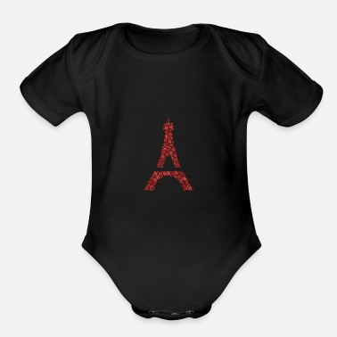Ornament Sweet hearty wordcloud of a Eiffel Tower form (red - Organic Short Sleeve Baby Bodysuit