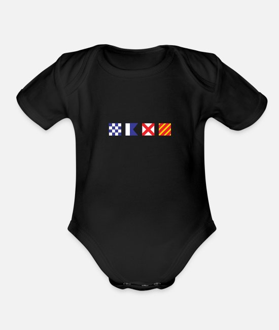 Honor Baby One Pieces - N - A - V - Y Spelled out in Signal Flags - Organic Short-Sleeved Baby Bodysuit black