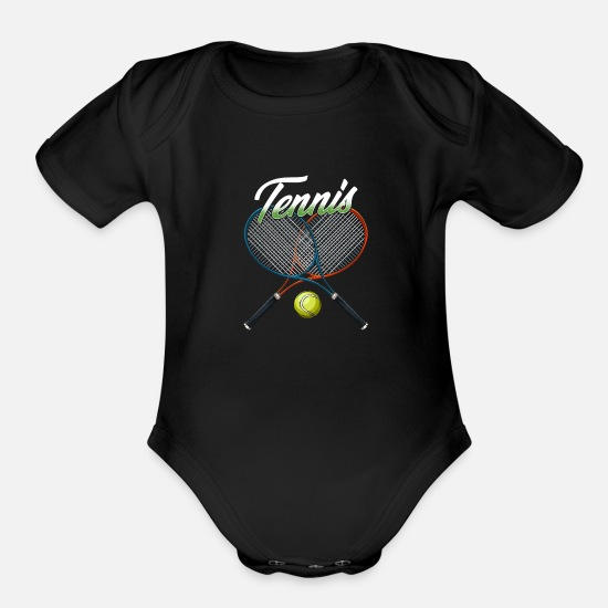 Tennis Match Baby Clothing - Tennis Rackets Tennisball Gift for Tennis Lover - Organic Short-Sleeved Baby Bodysuit black