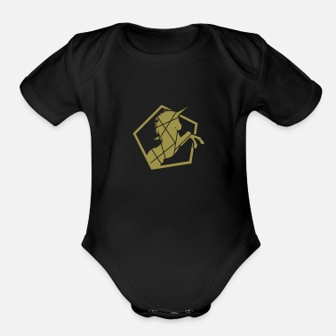 Gallop Unicorn galloping - Organic Short-Sleeved Baby Bodysuit