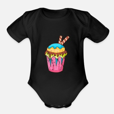 Baker Retro Vintage Grunge Style Muffins Cupcakes - Organic Short Sleeve Baby Bodysuit