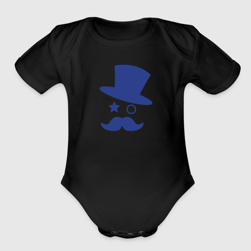 top hat and monocle with mustache - Organic Short Sleeve Baby Bodysuit