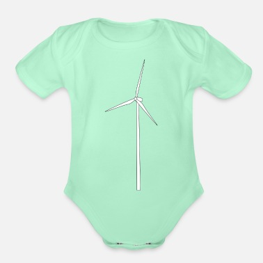Wind windmill windmuehle wind turbine windrad12 - Organic Short-Sleeved Baby Bodysuit
