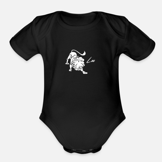 Leonardo Baby Clothing - ZODIAC LEO - Organic Short-Sleeved Baby Bodysuit black