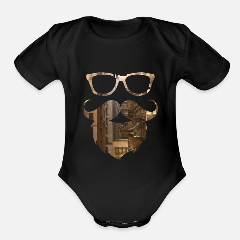 Hipster Baby Clothing - Hipster - Organic Short-Sleeved Baby Bodysuit black