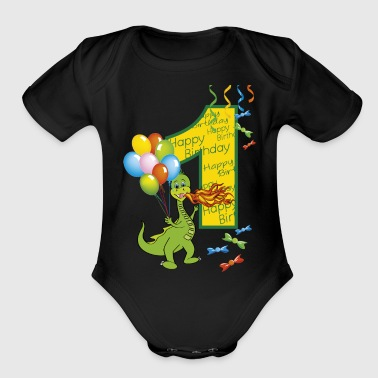 1st birthday first birthday one year 1 - Organic Short Sleeve Baby Bodysuit