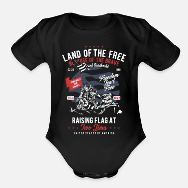 Freedom Freedom Isn't Free - Remember our Heroes - Organic Short-Sleeved Baby Bodysuit